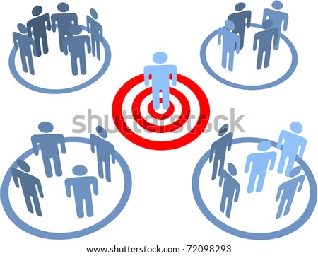 Aim at and find a targeted person in target market bulls eye