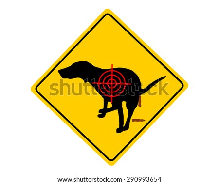 Aim at dogs crapping - stock vector