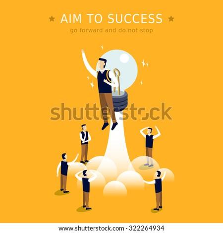 aim to success concept 3d isometric flat design  - stock vector
