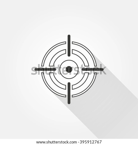 Aim   vector icon with long shadow.  Illustration  for graphic and web design.
