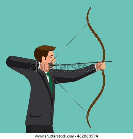Aiming concept, the man is shooting arrow out, colorful vector flat illustration