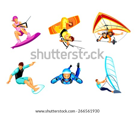 Air and water extreme sport activity icons - stock vector