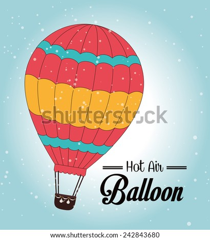 Air balloon over blue background, vector illustration. - stock vector