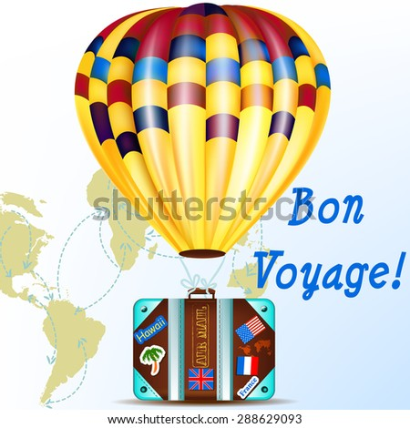 Air balloon with travel suitcase and map  in arrows vacation illustration