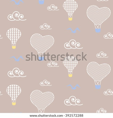 Air balloons in sky baby beige pattern seamless design. Nursery hot ballons kid background for bed linen and apparel. Heart baloons in white clouds design.