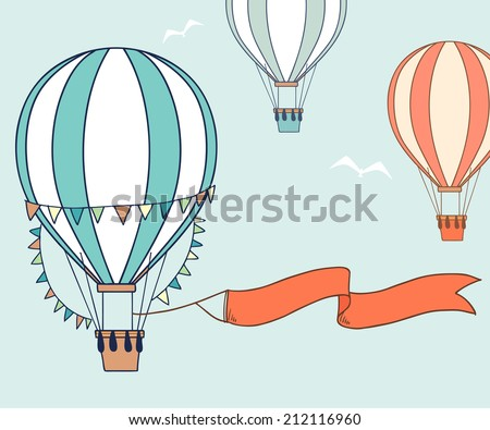 Air balloons with party ribbon, flags and birds. Vector illustration - stock vector