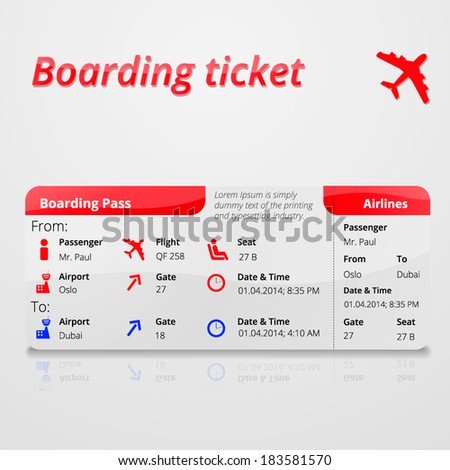 Air boarding ticket - stock vector