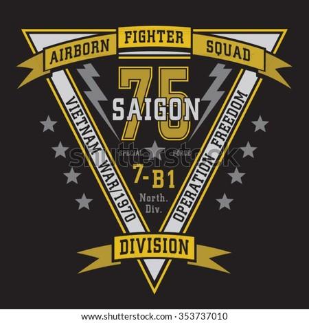 Air born fighter typogapraphy, t-shirt graphics, vectors - stock vector