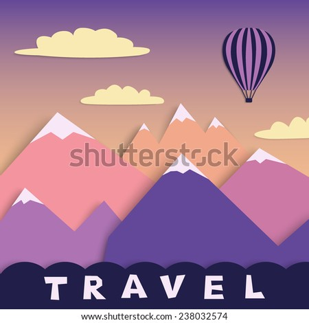 air colorful  balloon flying over mountains on purple sky, simply application, vector illustration - stock vector