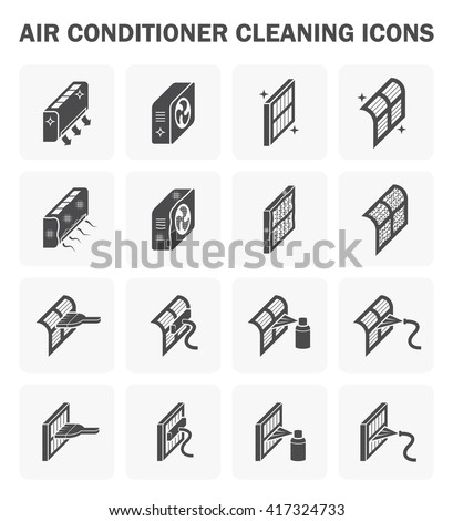 Air Conditioner Air Filter Cleaning Icon Stock Vector 417324733