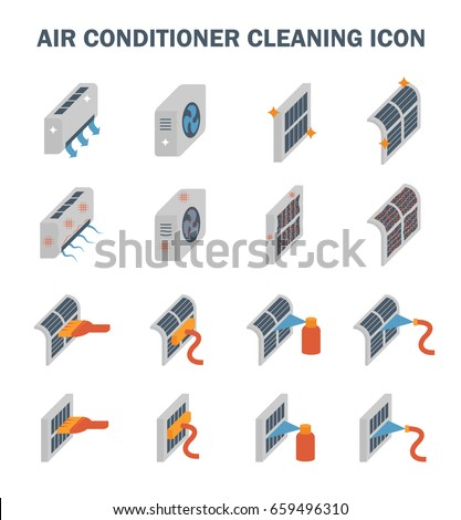 Air conditioner ,compressor and filter cleaning vector icon set design.