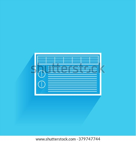 air conditioner, flat icon isolated on a blue background for your design, vector illustration
