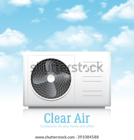 Air conditioner for home and office realistic background with clear air symbols vector illustration - stock vector