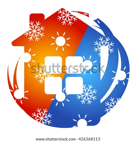 Air Conditioner for home vector, sun and snowflake