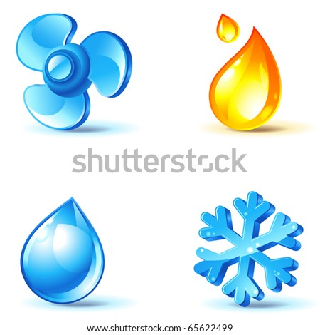 air-conditioner icons - blow, cold, heat, moisture - stock vector
