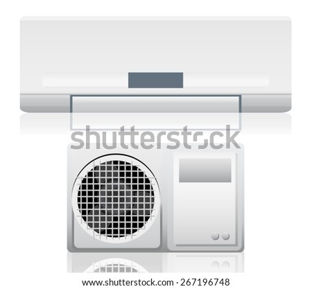 Air conditioner system on white wall - stock vector