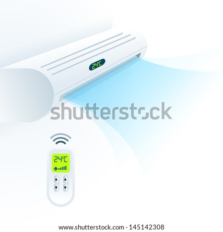 air conditioners cool fun climate element white blue - stock vector