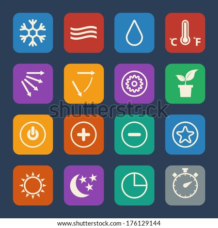 Air conditioning icons set. Flat design for Website and Mobile applications. Vector - stock vector