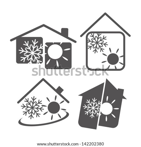 air conditioning in the house, the design of business - stock vector