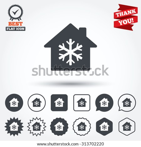 Air conditioning indoors icon. Snowflake sign. Circle, star, speech bubble and square buttons. Award medal with check mark. Thank you. Vector - stock vector
