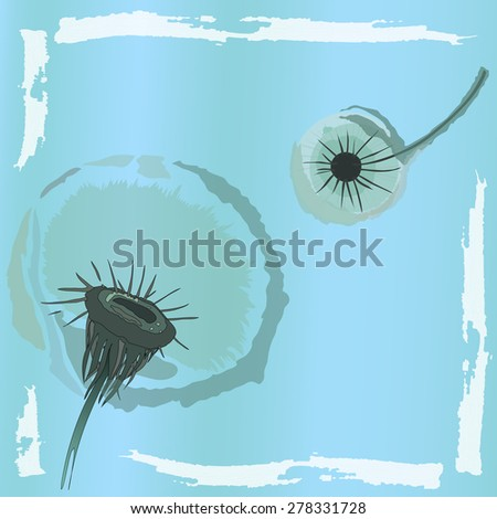 Air dandelion heads. - stock vector