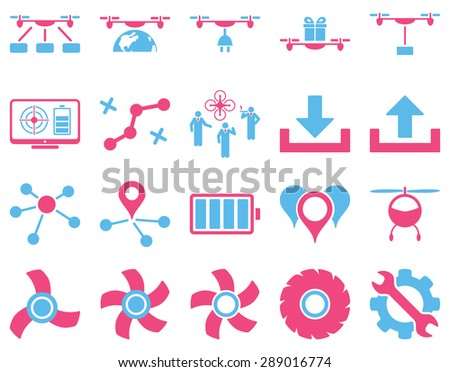 Air drone and quadcopter tool icons. Icon set style: flat vector bicolor images, pink and blue symbols, isolated on a white background.