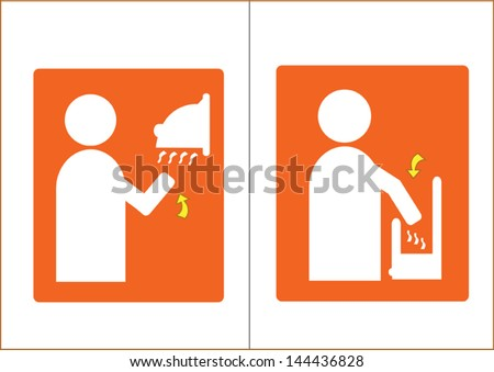 Air Dryer Vector Symbol for Washrooms  (2 editable images) - stock vector