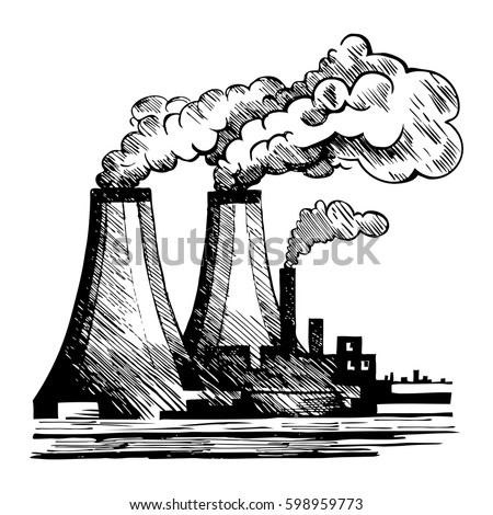 Air ecology and the problem of air pollution harmful gas emissions by industry vector