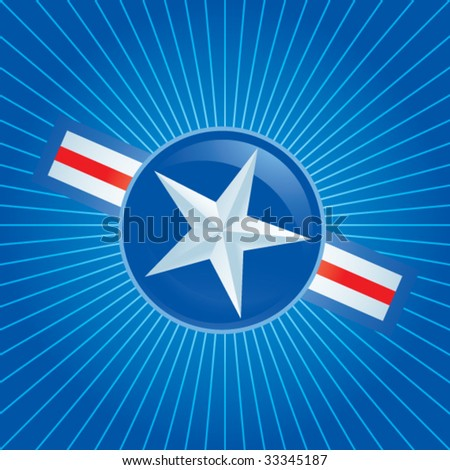 air force icon on blue starburst - stock vector