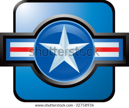 air force icon on blue web button - stock vector