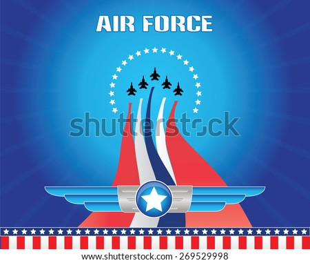 air force illustration, for backdrop or background, ready to print. - stock vector