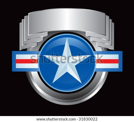 air force symbol on silver crest - stock vector