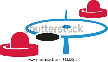 Air hockey field with mallets and puck - stock vector