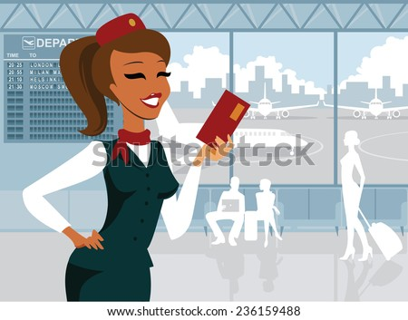 Air hostess - stock vector