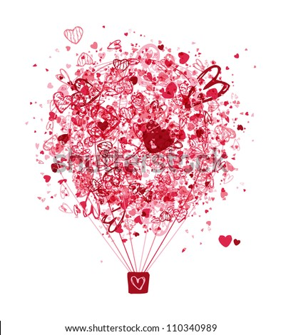 Air love concept, balloon with hearts for your design