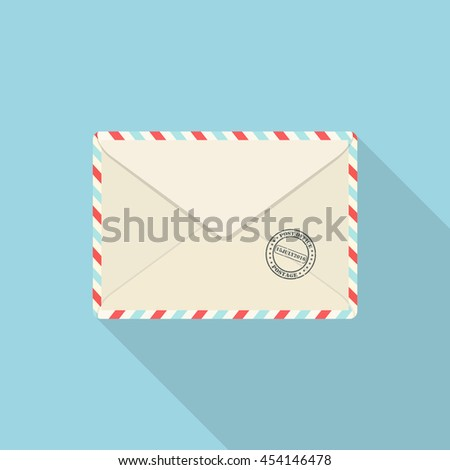 Air mail envelope. Air mail envelope icon symbol. Envelope icon image. Envelope icon picture.Envelope vector icon. Flat design icon - stock vector