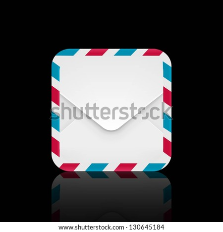 Air mail envelope icon - stock vector