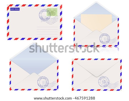 Air mail envelope. Vector illustration isolated on white background