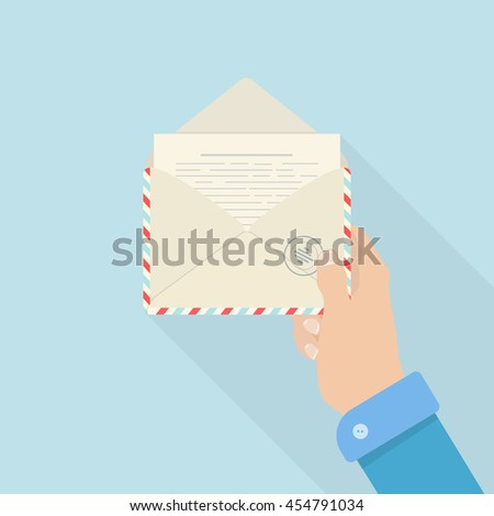 Air mail envelope with letter. Airmail envelope vector icon. Air mail envelope icon symbol.  Airmail icon image.  Air mail icon picture. Flat style vector icon - stock vector