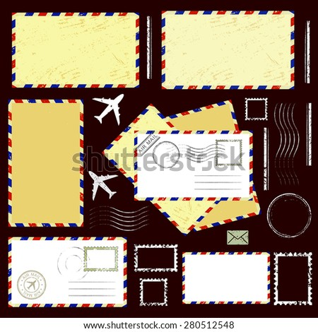 Air mail envelopes, postal stamps and postmarks set, isolated on brown background, vector illustration. - stock vector