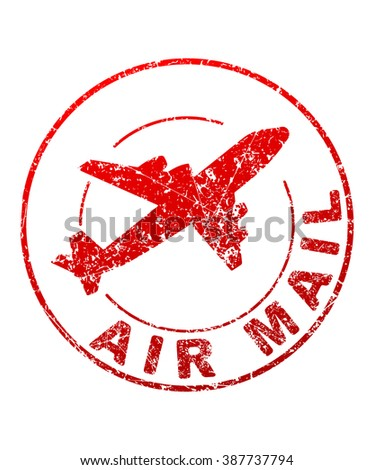 Air mail grunge style vector rubber stamp with silhouette of flying airplane - stock vector