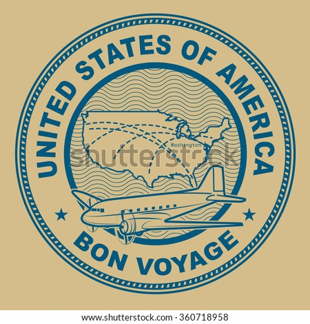 Air mail or travel stamp, United States theme, vector illustration - stock vector