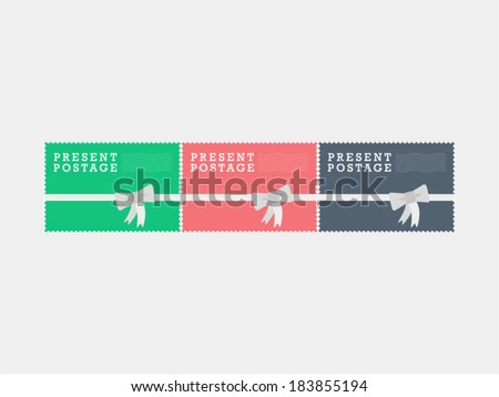 Air mail present postage stamps Vintage hipster style vector graphic illustration isolated on light background - stock vector