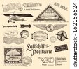 "air mail stamps and other postage design elements translation: ""Luftschiff-Postkarte"" - ""airship-postcard"", the zeppelin-shaped stamp refers to the 12th travel of an airship to South America in 1934 - stock vector"