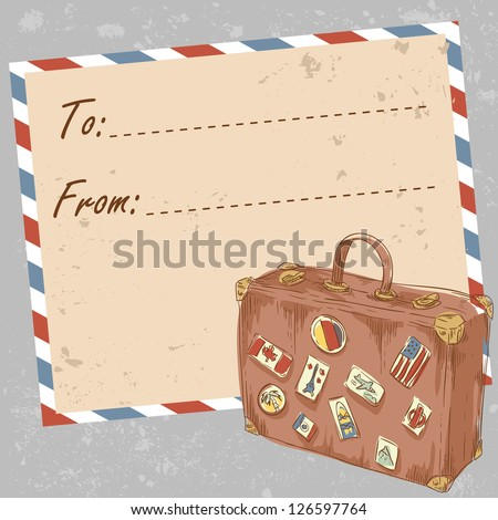 Air mail travel postcard with old grunge envelope and suitcase covered with stickers from different countries - stock vector