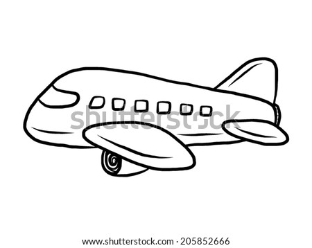 Air plane cartoon vector and illustration black and white hand drawn sketch