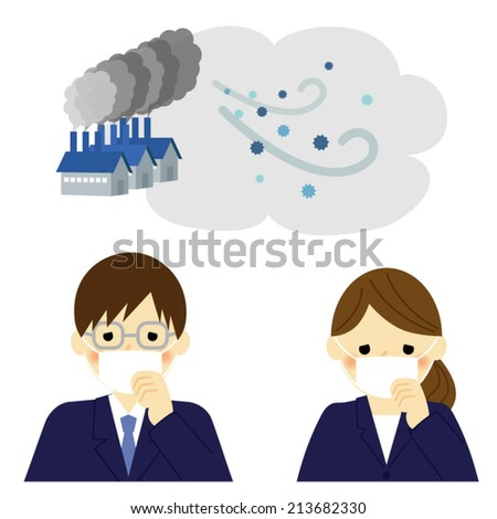 Air Pollution, businessman and businesswoman / Vector EPS 10 illustration  - stock vector