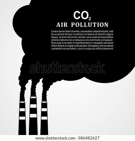 Air pollution. Factory or power plant emitting smoke. Smoking factory concept in Flat style. Vector illustration