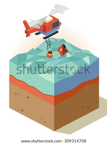 Air rescue with chopper. isometric art - stock vector