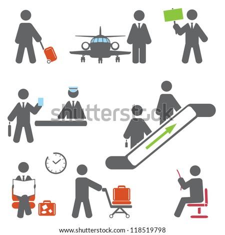 Air terminal icons. Vector set - stock vector